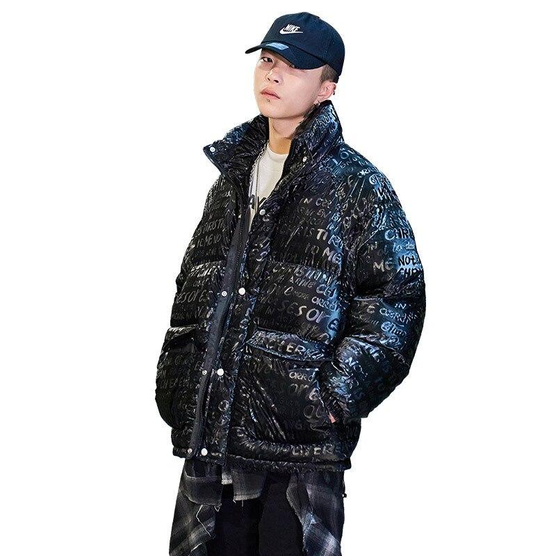 2021 модная зимняя мужская куртка-пуховик, новое подростковое пальто, мужское Оригинальное теплое пальто с хлопковой подкладкой и принтом, мо...