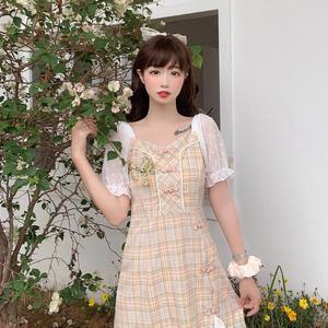 Korean  Elegant Waist Hugging Slim Square Collar Mesh Polka Short-Sleeve fairy dress tea party lolita dress  sweet lolita doll
