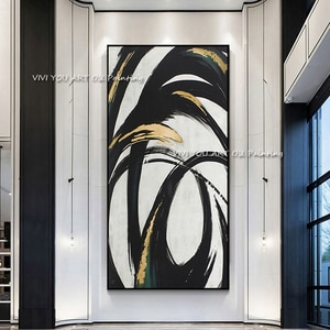 The 100% Handmade Golden Black Modern Abstract Thick Oil Painting On Canvas Knife Painting Wall Art Living Room Decor No Framed