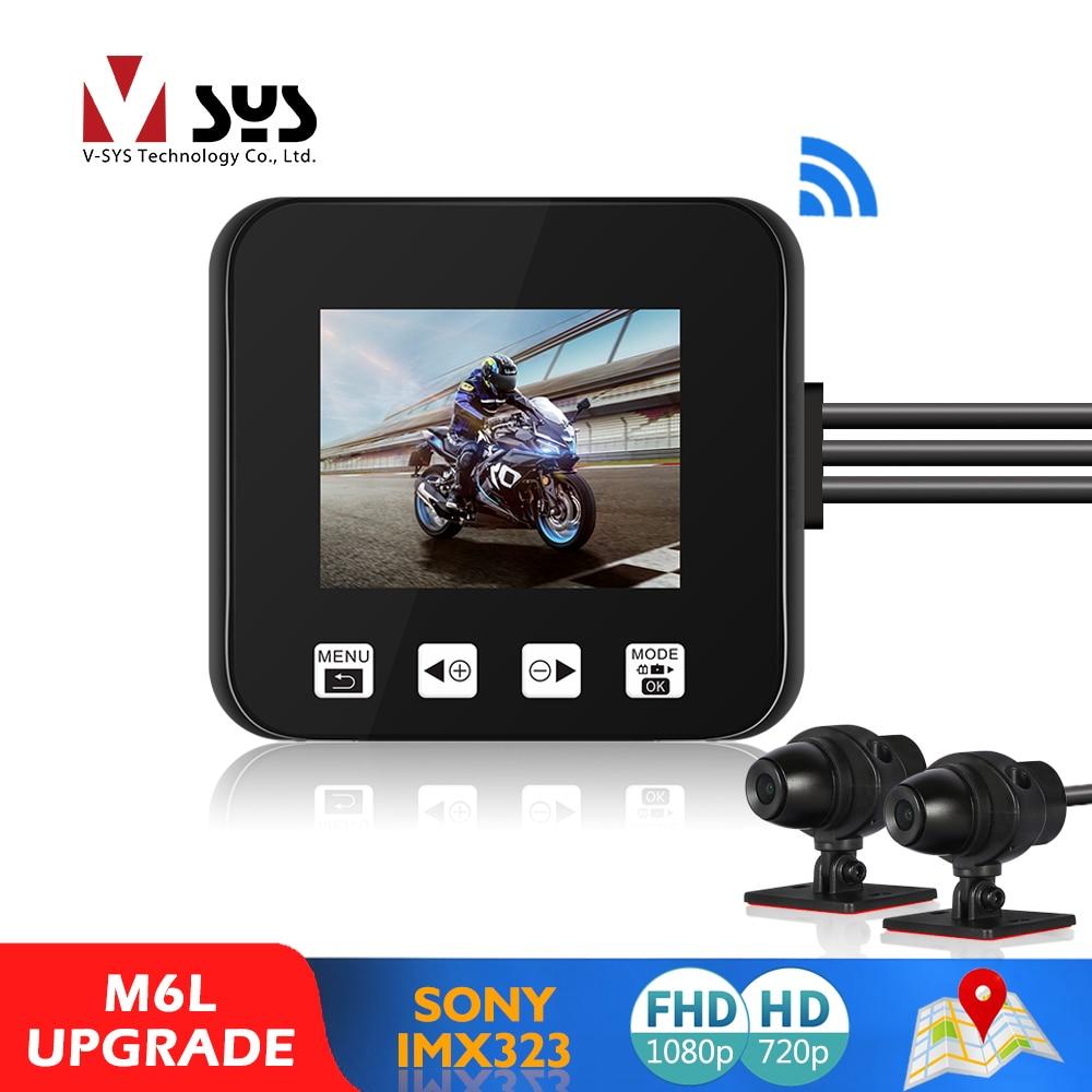 Sysvsys M6L P6L WiFi دراجة نارية DVR داش كام كامل HD 1080P + 720P الجبهة الخلفية كاميرا مقاوم للماء دراجة نارية صندوق مسجل أسود