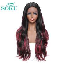 Парик из синтетических волос с эффектом омбре, длинные волнистые волосы красного цвета для чернокожих женщин, средней длины, модные натурал...