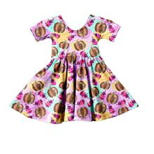 Baby Girls Short Sleeve Dress Children Girls Clothes Kids Halloween Dress Girls Dress With Pumpkin P