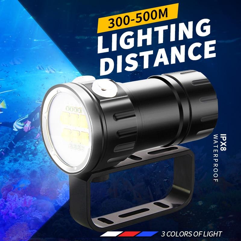 300000LM السوبر مشرق المهنية الغوص مضيا المحمولة الغوص IPX8 مقاوم للماء التكتيكية الشعلة مصباح للغوص قوية