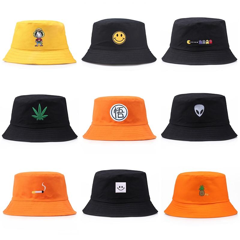 Bucket Hat set Luffy Smiley Alien Unisex Foldable Trump Cap Hip Hop Gorros Men Summer Caps Women Panama Fishing Bucket Hats