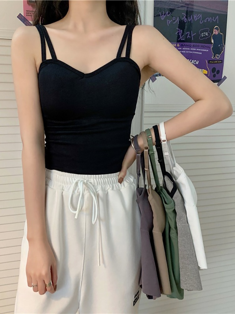 Net Red Long Beautiful Back Underwear Suspender Vest for Women in Summer with Bra Design Sense for S