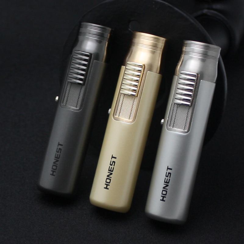 Portable Fixed Fire Lighter Torch Turbo Jet Butane Lighter Metal Strip Windproof Cigar Cigarette Lighter 1300 C No Gas Gift