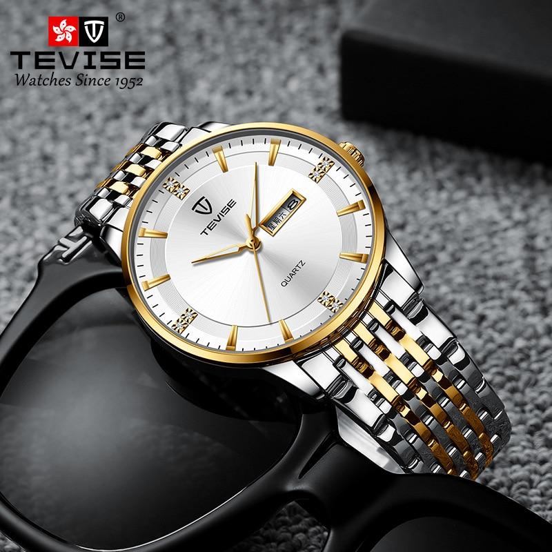 TEVISE Dual Date Watches Men Luxury Stainless Steel Watch Man Waterproof Casual Fashion Quartz Wrist