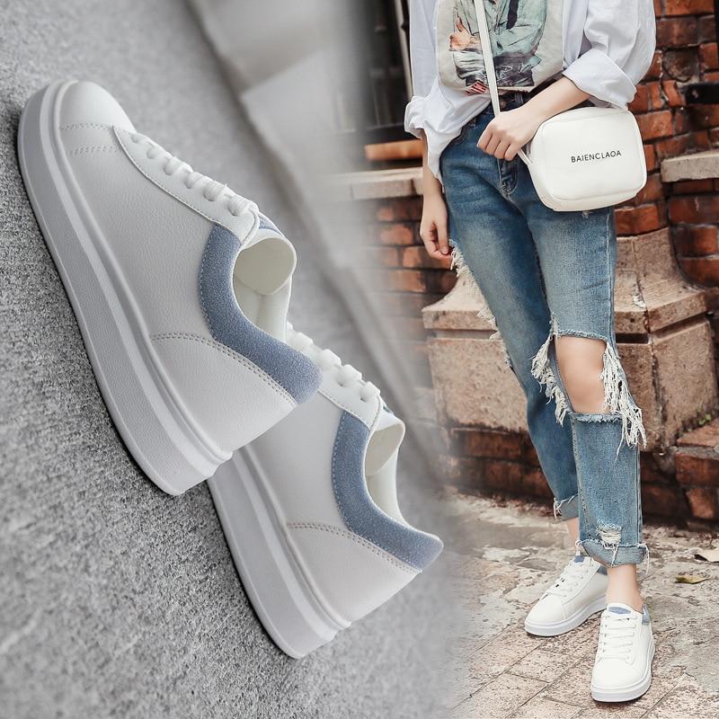 Frauen Weiß Casual Schuhe Bequem Flache PU Atmungsaktive Damen Plattform Schuhe Weiß Frauen Vulkanisierte Turnschuhe Weibliche