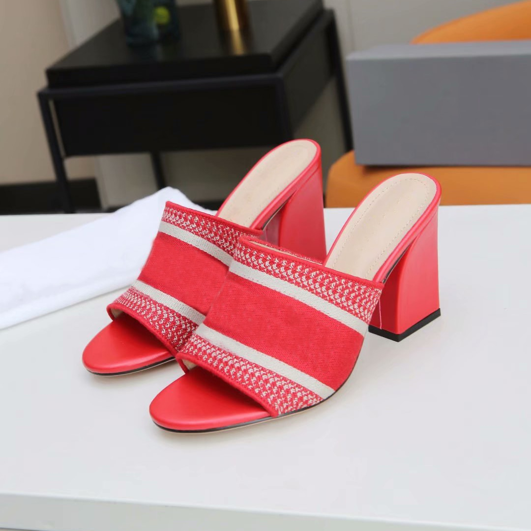 2021 Top Quality Womens High Heels Sandals Striped Slippers Black knit Embroidery Heel Sandal Outdoor Summer Letters Slipper enlarge