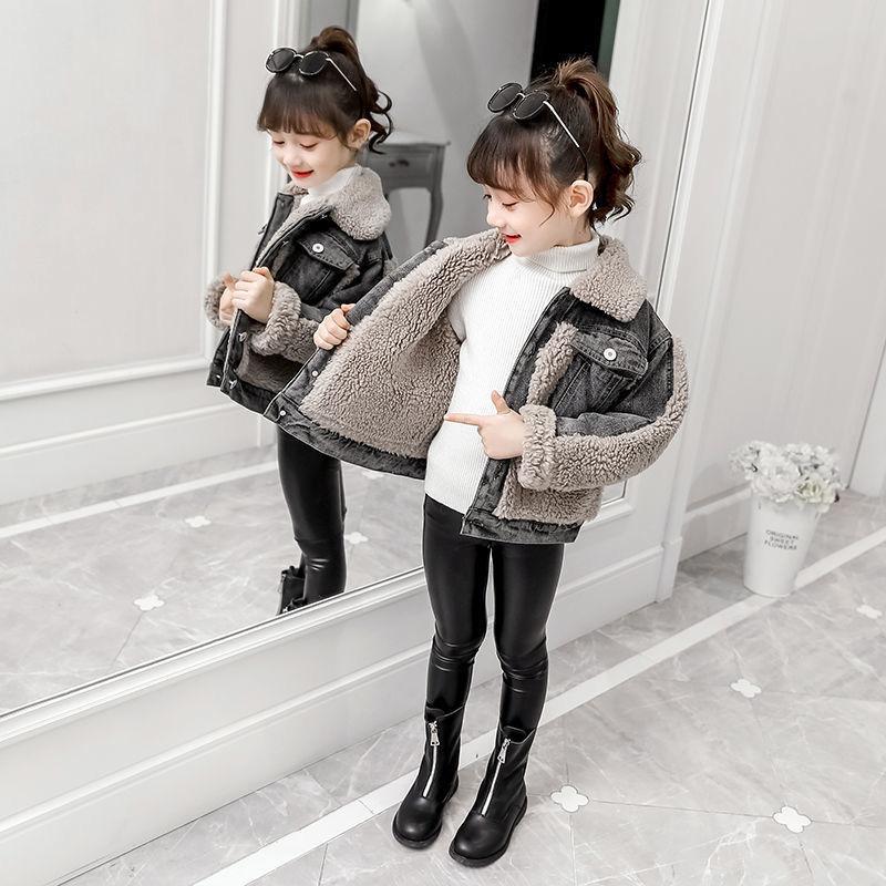 2020 Winter Baby Girl Fur Denim Jacket Thick Kids Fleece Jean Coat Pocket Fashion Children Girl Windbreaker Outwear Clothes D20 enlarge