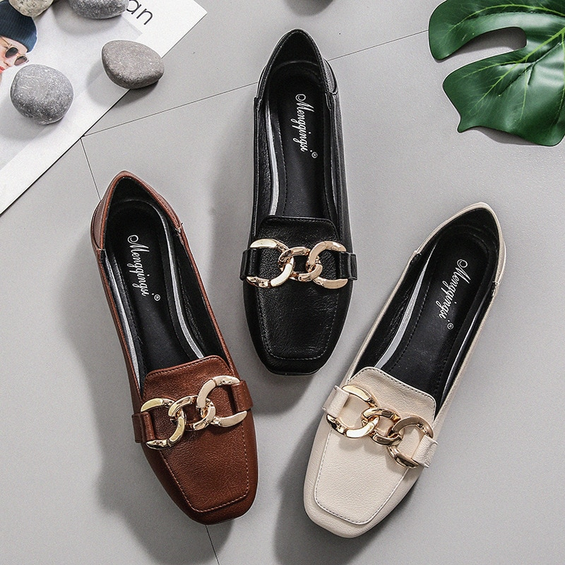 Luxury Brand Women Shoes Ballet Flats Loafers Leather Casual Shoes Woman Square Toe Slip-On Spring/Autumn New Plus Size 34-43 animal print flat shoes women plus size slip on loafers point toe snake shoes casual ballet flats comfort driving shoes woman