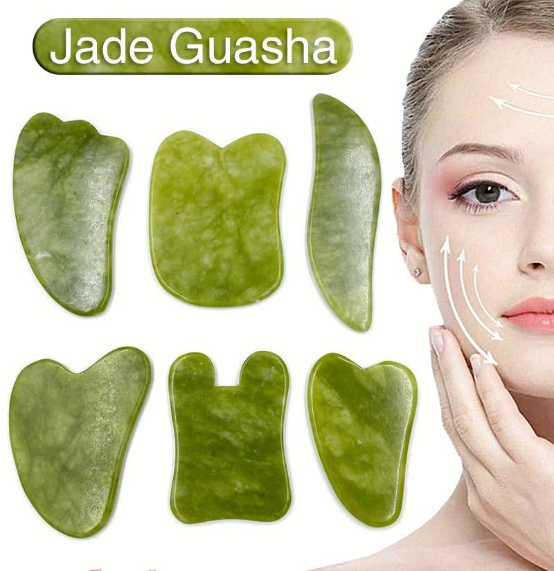 Jade Stone Gua Sha Scraper Board Facial Massager for face Guasha Natural gouache scraper for Face Sk