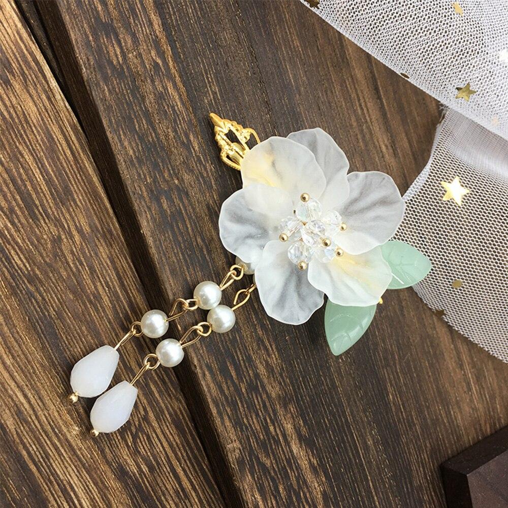 Clips de pelo de hoja verde de cristal blanco de moda estilo antiguo Hanfu accesorios pequeño horquilla niña niños novia boda tocado