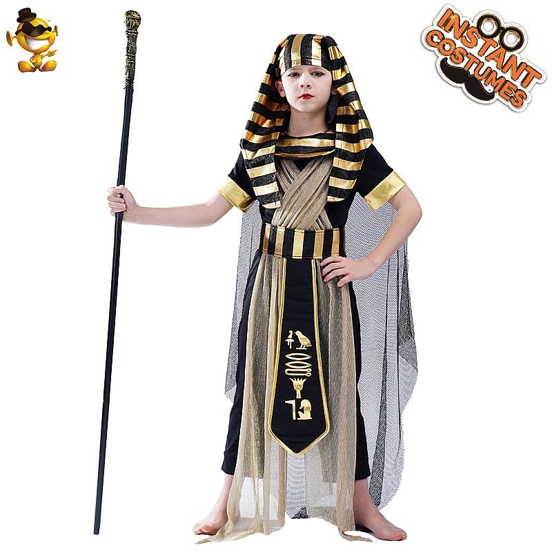 Dia das Bruxas Menino Antigo Egito Faraó Roupas Role Playing Crianças Príncipe Egípcio Cosplay Trajes