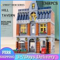 zhegao ql0935 hill tavern moc street view series 1368pcs building blocks bricks toys for kids birthday christams diy model gifts