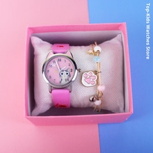 New Cute Cheese Cat Pattern Children Watches with Bracelet Quartz Analog Kids Watches For Girls Boys