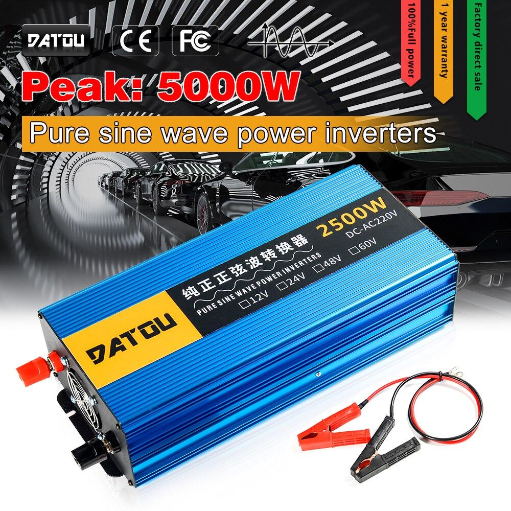 5000w inversor solar dc 24v 48v 60v para ac 220v inversor de potência do carro display lcd puro transformador de tensão de onda senoidal