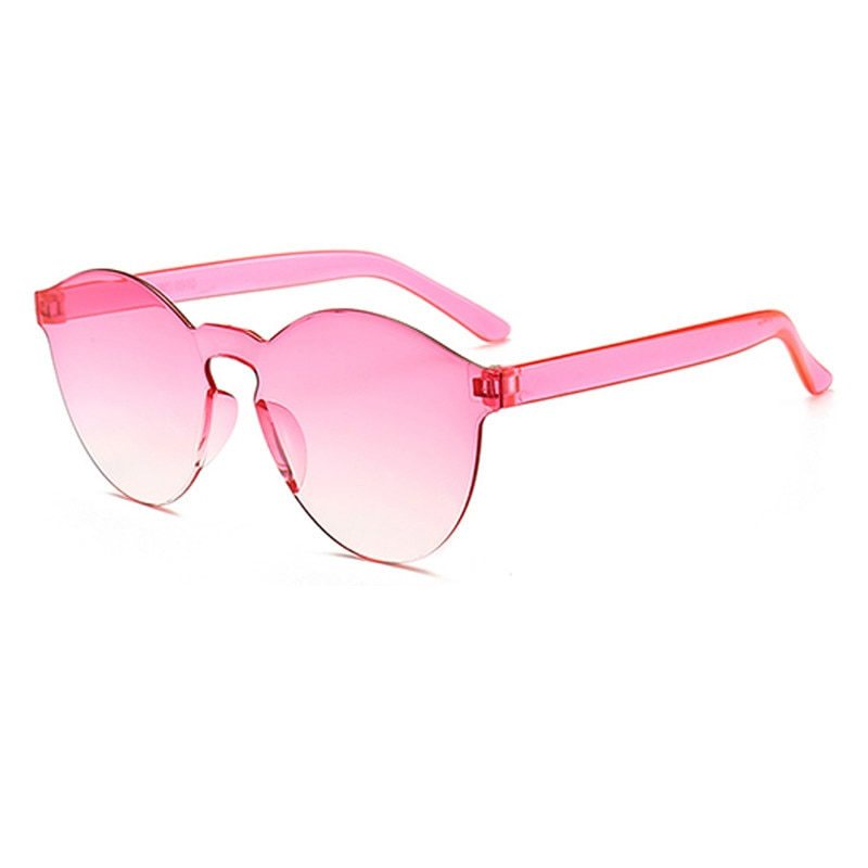 Frameless Candy Color Women Sunglasses Transparent Retro Glasses All-in-one Marine Sunglasses Drive