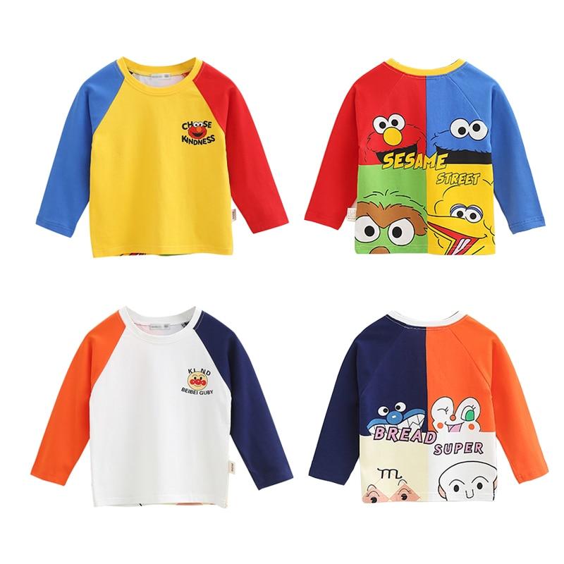12M-8Y New Spring Autumn Sesame Street Boys Girls Cotton T Shirts Children Funny Tees Long Sleeve Cartoon Shirt Kids Top Clothes