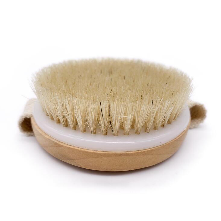 Cepillo de cuerpo de crin Natural redondo sin mango baño revestimiento seco cepillos para ducha SPA masaje madera cepillos para ducha LX1336