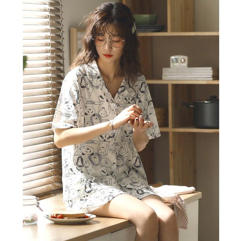 Conjunto de pijamas de algodão dos desenhos animados das mulheres de manga curta pijamas simples pijamas para as mulheres mujer casa terno pijamas
