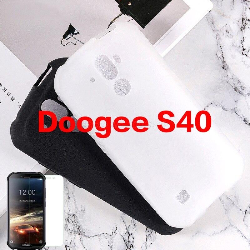 """Telefon Shell Fall Für Doogee S40 5,5 """"Zurück Abdeckung Weichem Silikon Fall Für Doogee S40 IP68 Mit Gehärtetem Glas für Doogee S40 2019"""