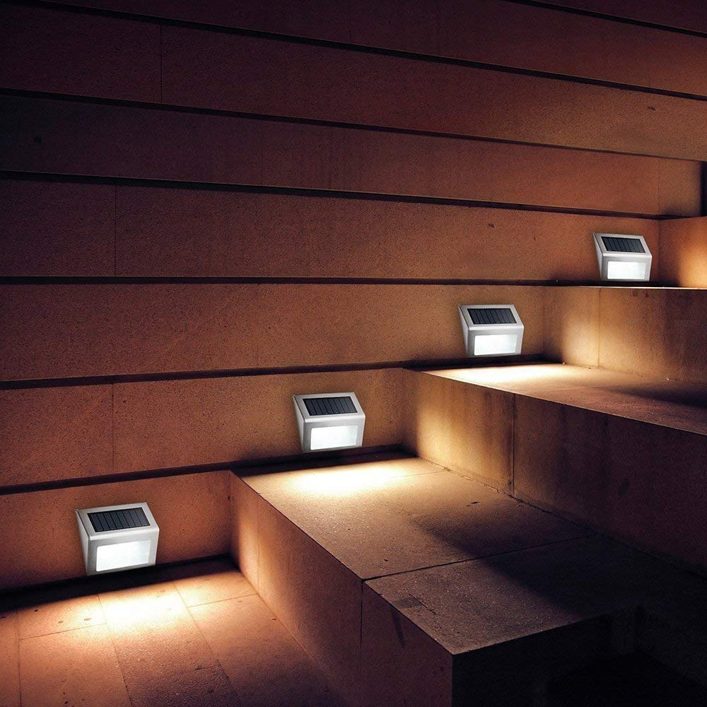 Светодиодный уличный светильник на солнечной батарее, водонепроницаемый садовый светильник для дорожек, двора, лестницы, с датчиком движен...