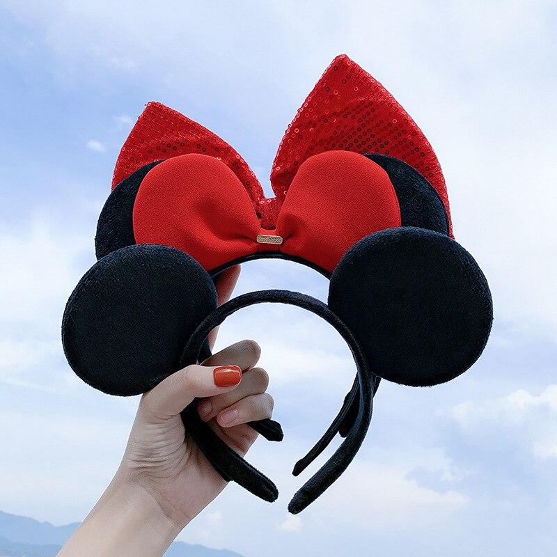 Disney Cute Mickey Hairband Red Bow Washing Hairpin Mouse Minnie Headdress Headband Ears