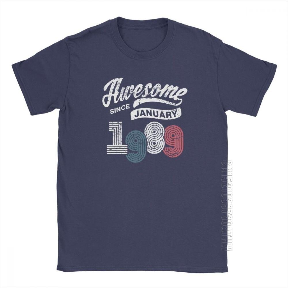 Потрясающие футболки с января 1989 года, Винтажная футболка на день рождения, мужские дизайнерские новые футболки, хлопковая одежда, обычная