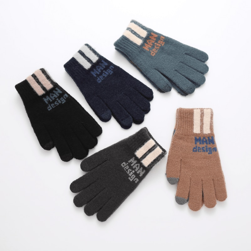 Горячая Распродажа зимние мужские защитные теплые перчатки для сенсорного экрана фабричные корейские однотонные вязаные перчатки оптом