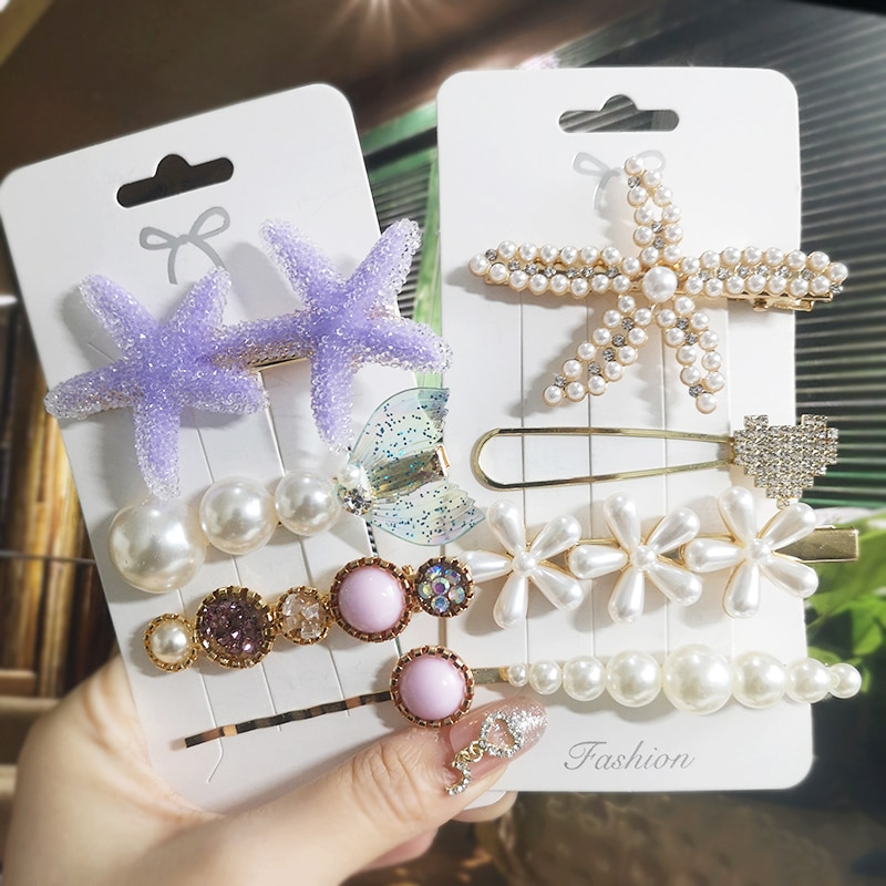 Doce estrela das estrelas do mar pérola cristal conjunto de barrettes de cabelo moda acrílico geométrico grampo de cabelo pino para feminino menina acessórios de cabelo headwear