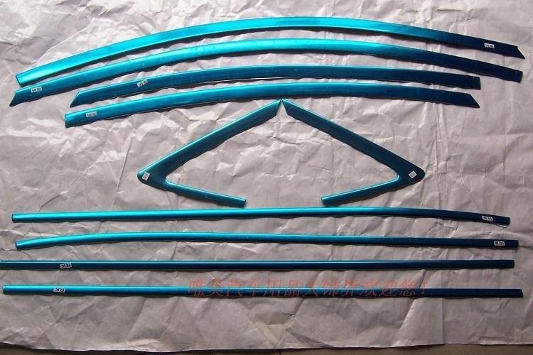 Aço inoxidável chrome moldura da janela guarnições soleira 10 peças para solaris verna i25 accent 2010 2011 2012 4dr sedan