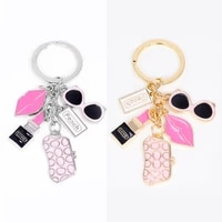 fashion exquisite keychain glasses wallet lipstick lips accessories creative small gifts ladies women bags key chain ornaments