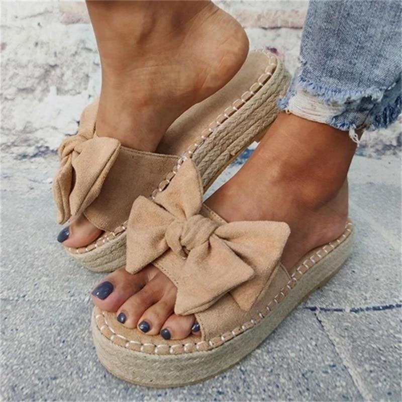 Women Bowknot Slippers 2020 Summer Casual Beach Muffin Slip On Platform Ladies Sandals Dress Party Peep Toe Female Sandals