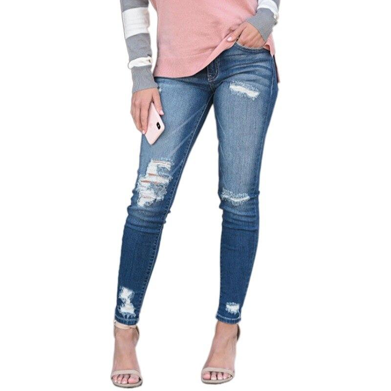 Джинсы для женщин, рваные узкие джинсы для мам, синие высокоэластичные женские джинсы стрейч, женские джинсы, потертые джинсы, узкие брюки-к...