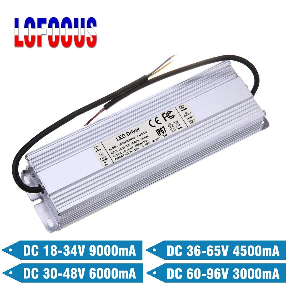 300 W LED controlador de 9000mA 6000mA 4500mA 3000mA 9A 6A 3A para 200, 240, 250, 280, 300 W Watt COB Chip transformadores para iluminación de fuente de alimentación