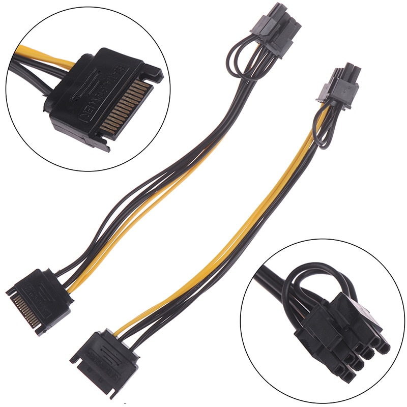 1pc 15pin SATA mâle à 8pin(6 + 2) câble dalimentation PCI-E 20cm câble SATA 15 broches à 8 broches câble fil pour carte graphique