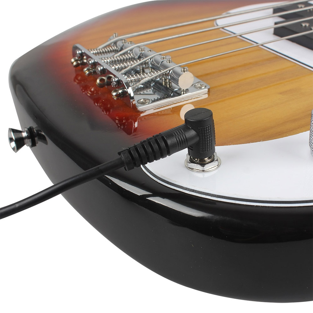 21 Frets 4 String Electric Bass Guitar Sunset Color Basswood Bass Guitar Stringed Instrument With Connection Cable Wrenches enlarge