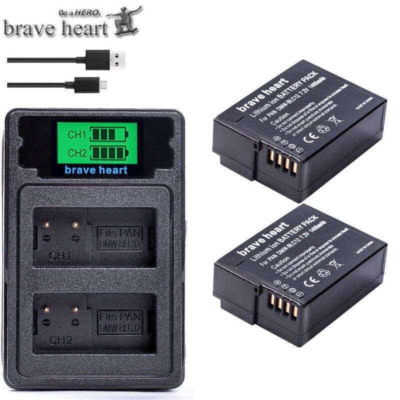DMW-BLC12 DMW-BLC12E DMW BLC12 DMW BLC12E Battery + USB Dual Charger for Panasonic FZ1000 FZ200 FZ300 G5 G6 G7 GH2 BLC12 battery