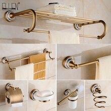 Juegos de accesorios de baño de bronce antiguo, toallero, toallero, soporte de papel higiénico, gancho Rove, productos de cerámica para el baño EL3100