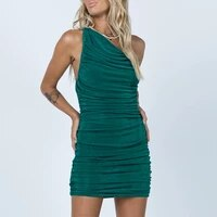 novae 2021 new trendy sexy one shoulder short dresses night club summer sleeveless ruched bodycon dress