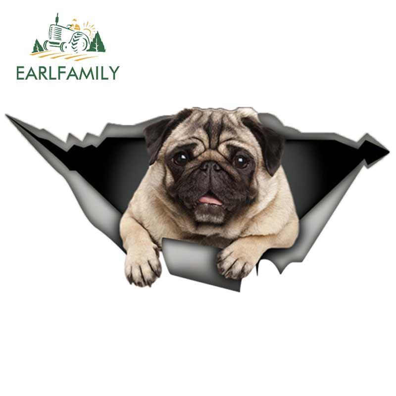 Earlfamily 13cm pug cão carro adesivo rasgado decalque de metal 3d janela adesivos adesivos de vinil reflexivo