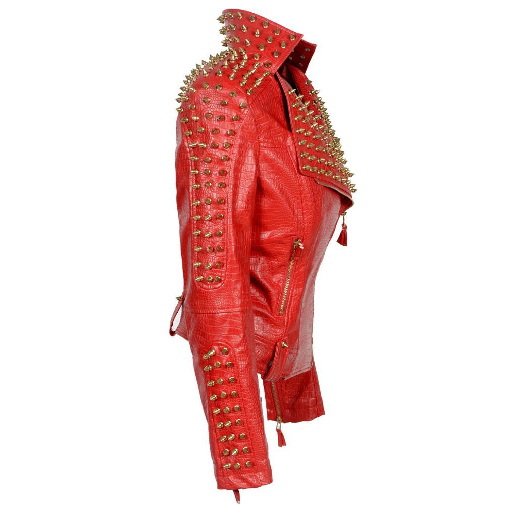 New Fashion casual women's long-sleeved Punk Rivet Coat Slim Fit Zipper PU Leather Studs Jacket Baseball Lapel Style Outerwear enlarge