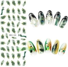 Autocollant deau pour nail art toutes les décorations curseurs plumes de paon plume ongles design décalcomanies manucure laque accessoires