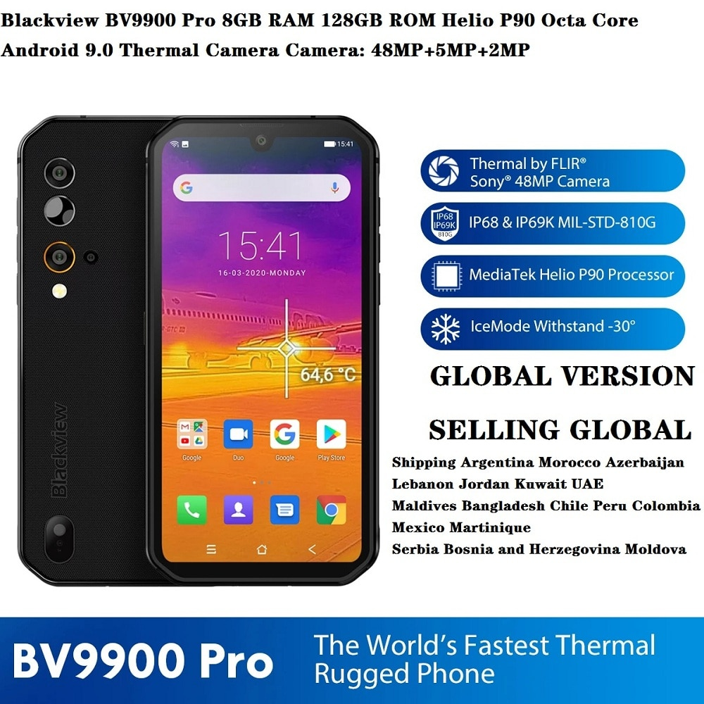 Blackview BV9900 Pro Thermal Camera Smart Phone Helio P90 Octa Core 8GB 128GB IP68 4GLTE Smartphone 48MP Quad Rear Camera