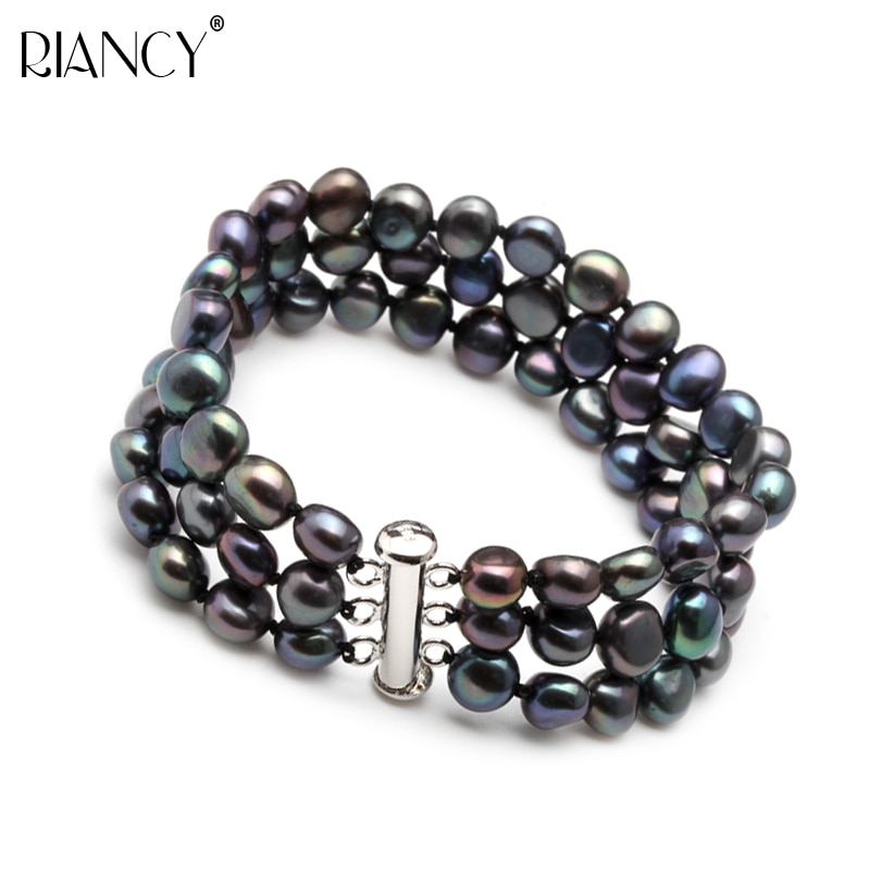 Real Beautiful freshwater 3 rows black pearl bracelet for women,girls birthday gift trendy bracelet