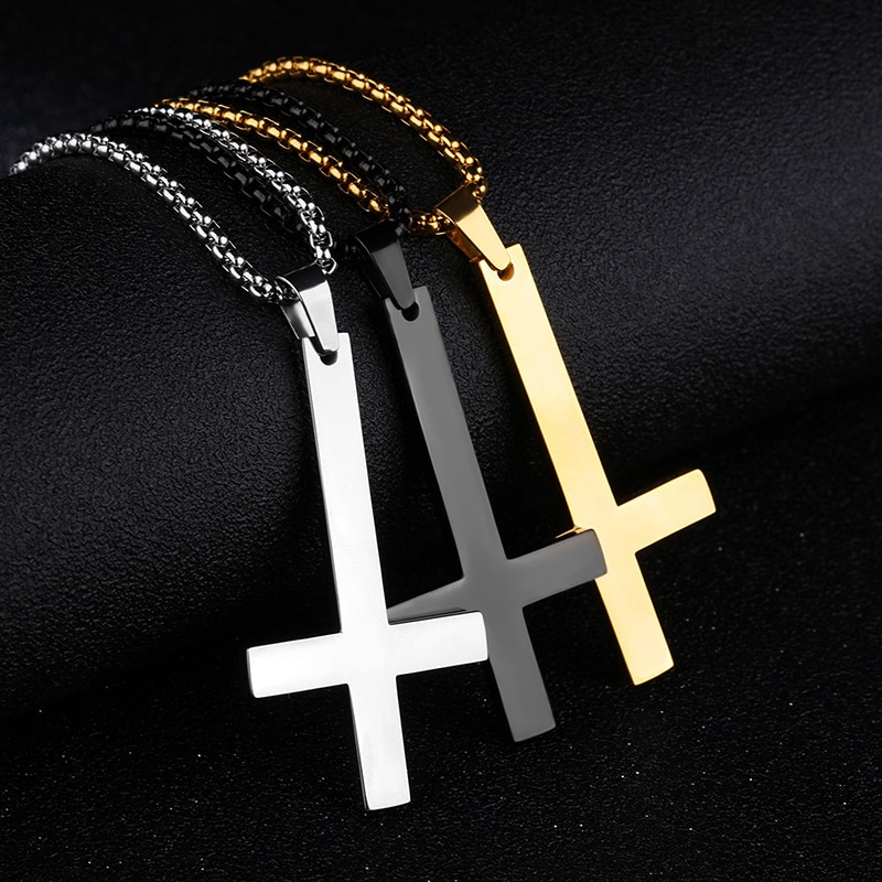 Sale Adjustable Stainless Steel Necklaces For Men Women Inverted Cross Titanium Steel Necklace Gift