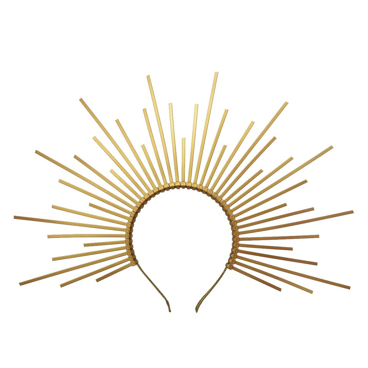 Gold Spike Halo Crown Headpiece PLASTIC ZIP TIE Elf Wedding Bride Hair Band Women Headband Headdress
