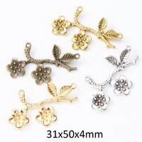 10pcs branch flower leaf charms for jewelry making diy connectors necklace pendants bracelet headwear hair accessories pendants