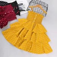 summer fashion wave point sling girls dress 2021 new childrens dot skirt princess western style dress 3 8year old